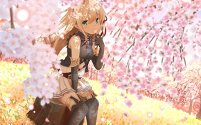 Picture Flowers, Girl, Spring, Elf, Stump