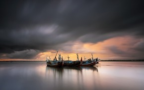 Picture sea, sunset, boats