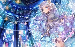 Picture chandelier, girl, stained glass, blue eyes, ears, long hair, ruffles, neko girl