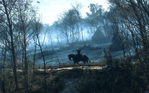 Wallpaper forest, trees, house, horse, The Witcher, Geralt, The Witcher 3: Wild Hunt, roach