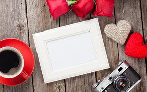 Picture love, flowers, coffee, roses, bouquet, frame, Cup, hearts, red, red, love, wood, flowers, cup, romantic, …