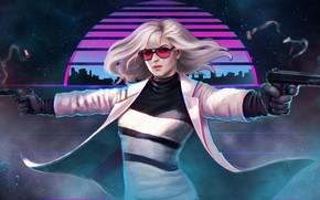 Wallpaper cloak, Lorraine Broughton, art, girl, Atomic Blonde, glasses, Charlize Theron, gun