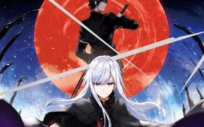 Picture girl, sword, anime, art, guy, Owari no Seraph, Guren