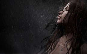 Picture girl, face, rain, hair