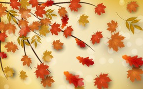 Picture autumn, leaves, background, branch