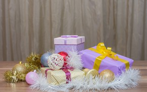 Picture holiday, balls, new year, gifts