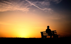 Wallpaper sunset, silhouette, sadness, bench