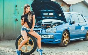 Picture auto, look, girl, smile, Girls, wheel, Subaru
