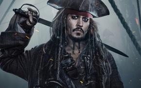 Wallpaper Jack Sparrow, Johnny Depp, Dead men tell no tales, Pirates of the Caribbean: Dead Men ...