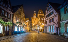 Picture street, building, tower, home, gate, Germany, Bayern, bridge, Germany, Bavaria, Rothenburg-Ob-der-Tauber, Markusturm tower, Röder alley, ...
