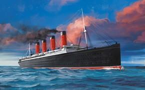 Picture wave, ship, Transatlantic Ships, lusitania