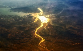 Picture light, river, valley, the view from the top
