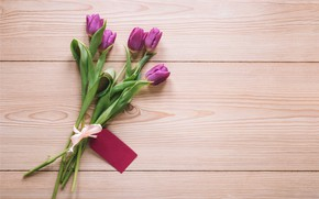 Picture flowers, bouquet, tulips, love, fresh, wood, flowers, romantic, tulips, spring, purple, with love