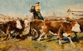Picture cows, cowboy, Genre painting, PAL Fried, In the barnyard