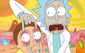 Picture language, eyes, background, planet, surprise, hairstyle, fingers, Bathrobe, crazy, drool, big eyes, Rick, Rick and …