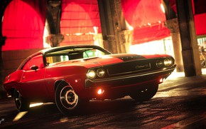 Picture red, street, Challenger, Dodge Challenger R/T
