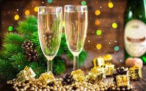 Picture holiday, new year, decor, champagne