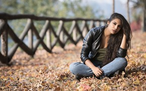 Picture autumn, look, leaves, model, sitting, Joanna