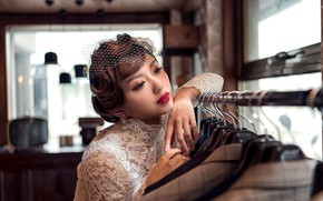 Picture girl, style, hands, makeup, Asian, hairstyle, the bride, veil, costumes, Vzglyad, Joshua Chang