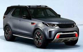 Picture grey, background, SUV, Land Rover, Discovery, 4x4, four-door, 2017, V8, SVX, 525 HP