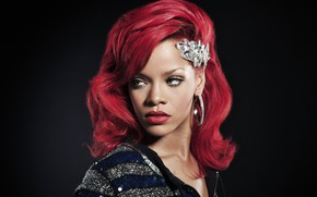 Picture portrait, Rihanna, red hair