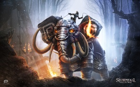 Wallpaper elephant, Storm case, armor, Stormfall: Age Of War, forest, whip, beast, game, warrior