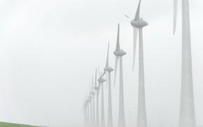 Picture landscape, fog, windmills