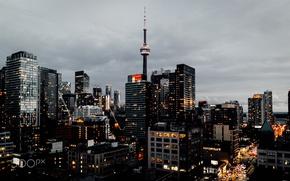 Wallpaper Toronto, the city, Canada, the evening, lights