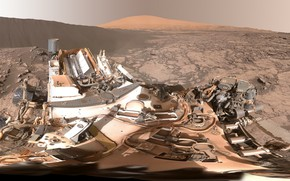Picture dunes, Namibian, panoramic view, on Mars