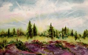 Wallpaper watercolor, landscape, picture