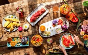 Picture ice, flowers, table, orange, watermelon, drink, fruit, fruit dragon
