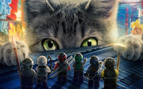 Wallpaper animated movie, LEGO, The Lego Ninjago, cartoon, cat