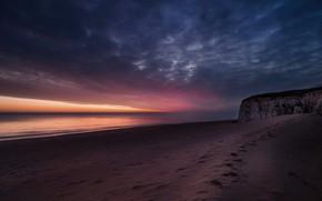 Picture sea, sunset, nature, shore, England, Botany Bay