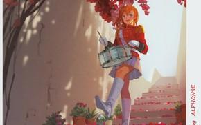 Picture wall, boots, petals, ladder, gloves, uniform, drum, art, redhead girl, epaulettes, Alphonse