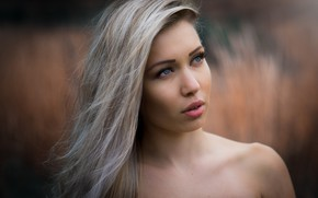Picture portrait, makeup, hairstyle, blonde, bokeh