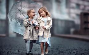 Picture children, girls, umbrella, bridge, girls, bridge, umbrella, children, girlfriend, girlfriend
