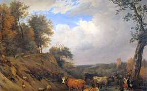 Wallpaper animals, oil, picture, canvas, Paulus Potter, Shepherds with Their Cattle
