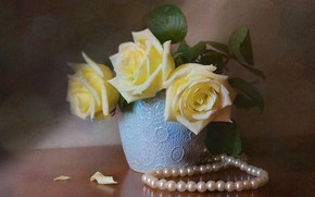 Picture flowers, table, roses, pearl, beads, vase, still life, bokeh
