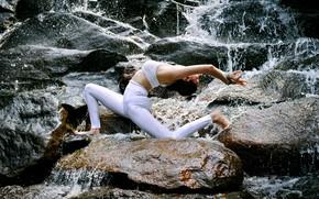 Picture girl, nature, pose, stones, gymnastics, yoga