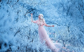 Picture winter, forest, girl, snow, trees, flowers, branches, pose, makeup, dress, pink, hairstyle, blonde, beauty, the ...