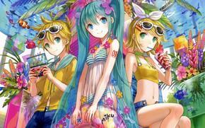 Picture summer, girls, boy, Vocaloid, Vocaloid, Kagamine Len, Kagamine Rin