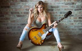 Picture Girl, wall, guitar, cleavage, long hair, boobs, breast, photo, bricks, blue eyes, model, bokeh, lips, …