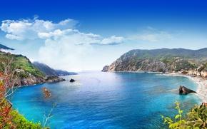 Picture sea, rocks, shore, Italy, landscape, Italy, travel, Monterosso al Mare, Liguria