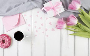 Picture flowers, coffee, bouquet, hearts, tulips, pink, donut, box, flowers, cup, gift, coffee