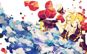 Picture girl, cubes, Vocaloid, Vocaloid, Kagamine Rin