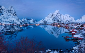Wallpaper the sky, Norway, Pure, water, the evening, lights, Bay, winter, mountains, snow, reflection, houses, Lofoten, ...