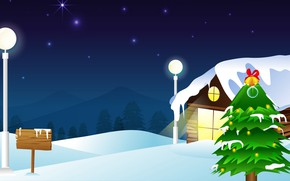 Picture Winter, Night, Snow, House, Rendering