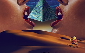 Picture the dunes, desert, face, camel, pyramid, rider, sanctuary, synth wave, run vaylor
