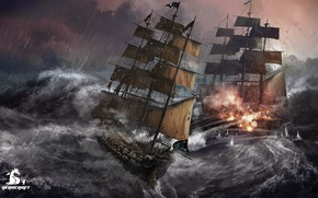 Picture wave, storm, ships, The Tempest, Herocraft