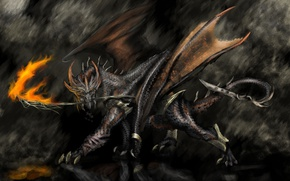 Picture fire, dragon, wings, art, horns